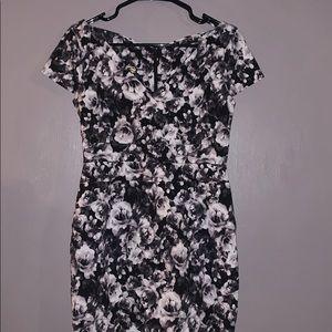 ASOS black and white flower dress, size 14